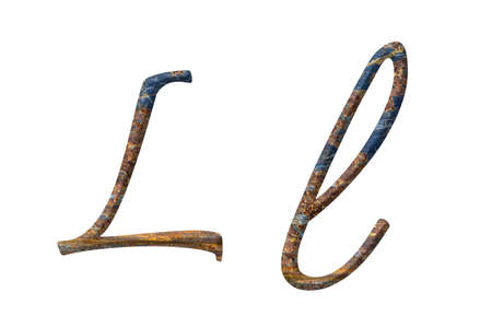 Capital and small letter L in rusty iron photo