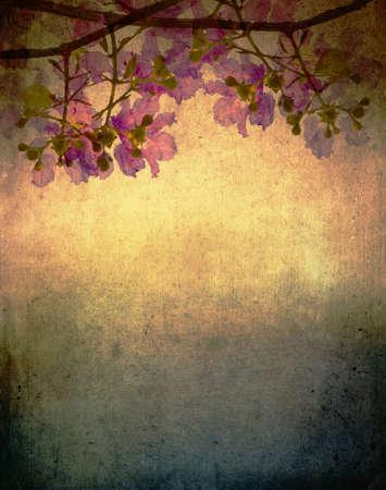 retro background: Kind of queen crape myrtle flowers on vintage background