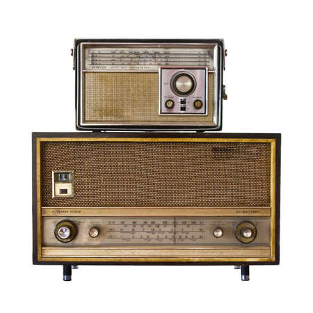 vintage objects: Retro radio isolated on white background Stock Photo