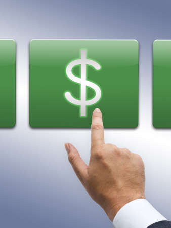 additional compensation: Hand press on dollar button Stock Photo