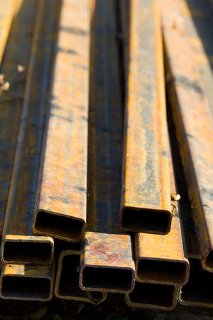 joist: Pile of rusty steel cube for construction