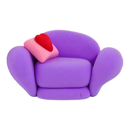Small violet armchair, made from child s play plasticine Stock Photo - 13449926