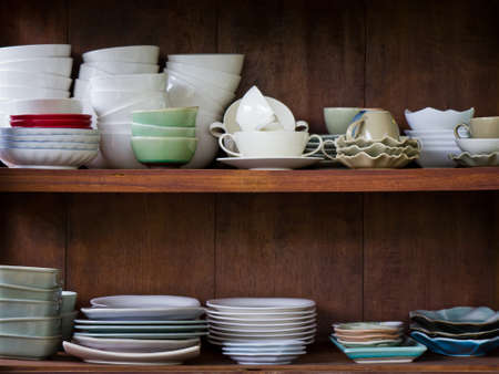 kitchen ware: Crockery in the wood larder