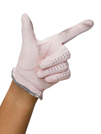 Hand in golf glove point right Stock Photo - 13995789