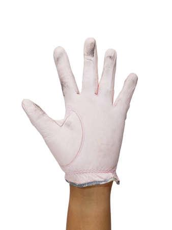 Hand in golf glove show five fingers photo