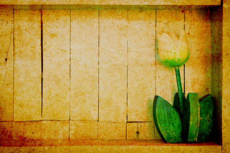 Wood shelf with decorative flower in retro style photo
