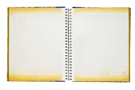 photo album page: Opened photo album isolated on white background Stock Photo