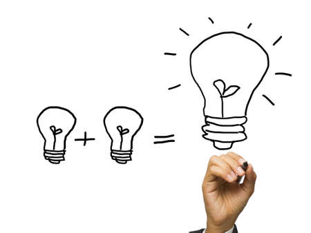 adding: Hand writing an equation of light bulbs concept Stock Photo