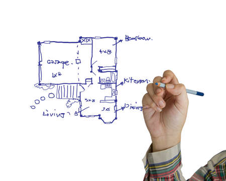 building planners: Hand drawing house plan on white background