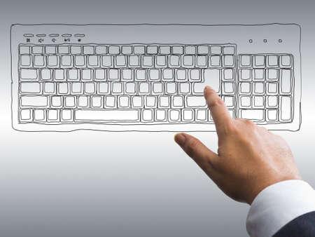 Hand press enter on drawing keyboard Stock Photo - 14475208