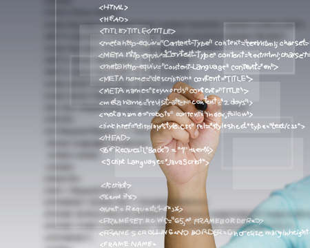 programming code: Hand write a html source code Stock Photo