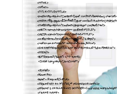 javascript: Escribir a mano el c�digo fuente HTML Foto de archivo
