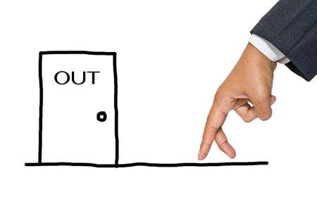 expel: Businessman hand as finger walking to exit door