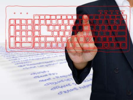 Hand druk op schetsen toetsenbord van de computer