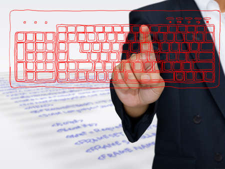 Hand press on sketching computer keyboard Stock Photo - 14814643