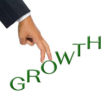 Businessman hand as finger walking step on Growth word photo