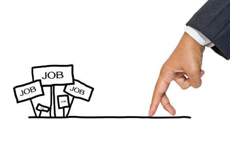 Zakenman hand als vinger lopen op zoek naar nieuwe baan
