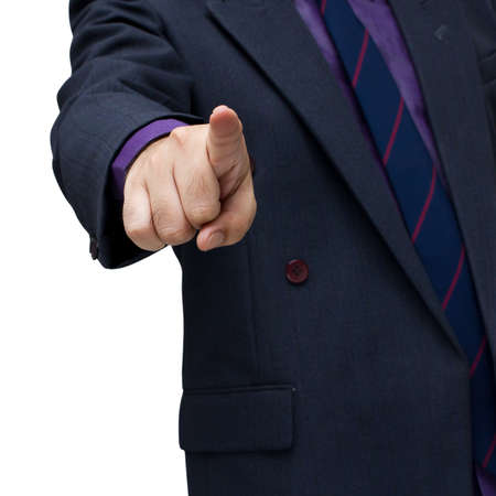 Businessman straight the arm and pointing (isolated on white background) Stock Photo - 14814658
