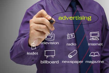 Businessman write a media channel Stock Photo - 14814688