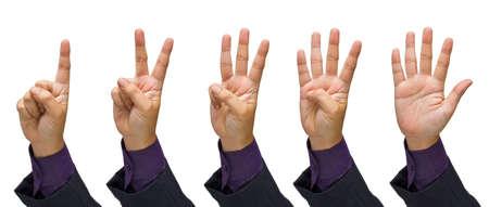 čtyři lidé: Sada podnikání gesto počtu prstů na bílém pozadí Reklamní fotografie