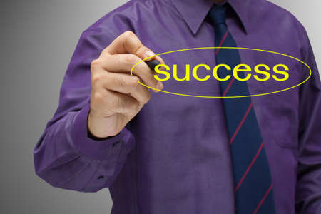 Businessman write a success word on screen Stock Photo - 14814690