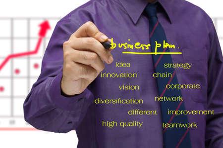Businessman write a business plan on screen photo