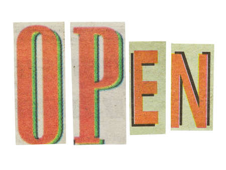 unclosed: Open word, paper cut letters