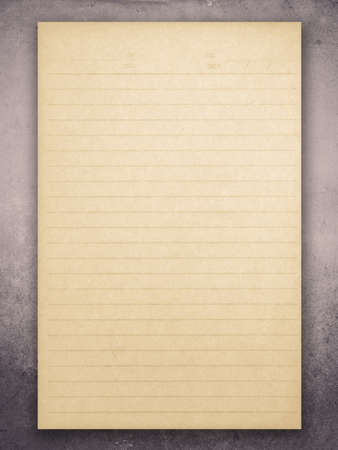 Yellowed paper sheet on grune background photo