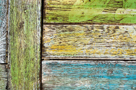 Old decorative painted wood wall photo