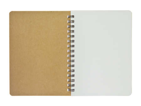 Opened recycle notebook, small size, isolated on white background photo