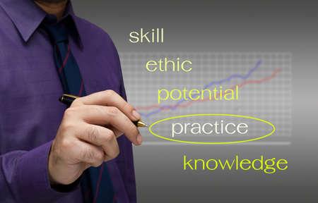 training and development: Businessman write a keyword of human practice