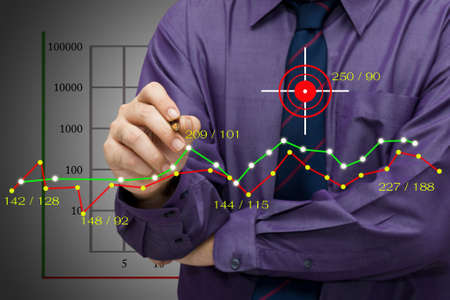 Businessman analyze statistics on graph photo