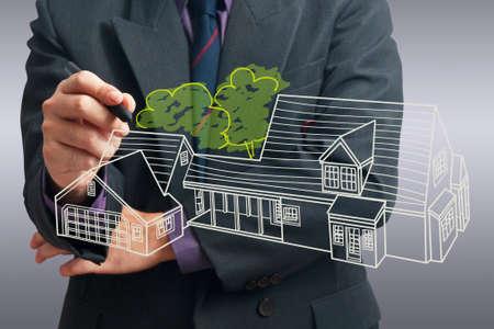 Architect tekening huis op het scherm Stockfoto