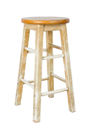 Old wooden stool isolated on white background photo