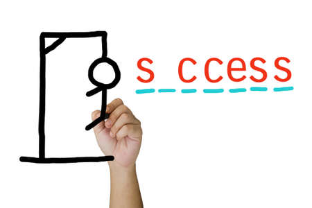 Hand draw a hangman game for success concept