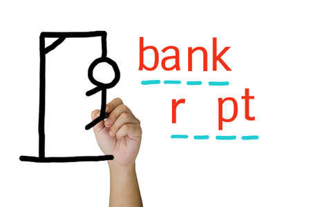 capital punishment: Hand draw a hangman game for bankrupt concept