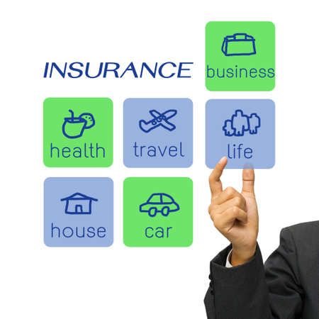 health management: Hand choosing an insurance type icon Stock Photo