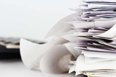reciept: Stack of reciept bills on business desk