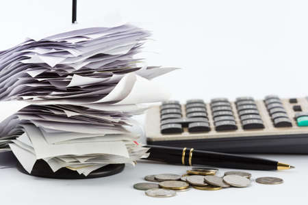 Bills in paper nail on business desk Stock Photo - 16959145