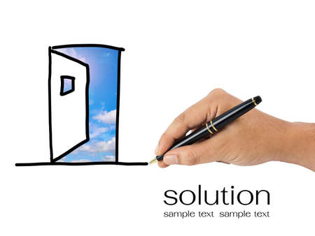 out door: Hand sketching opened door for solution concept Stock Photo