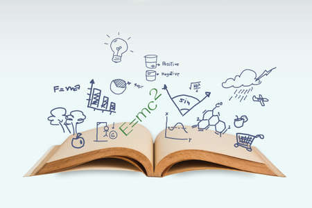 Opened book with many subjects drawing icon Stock Photo - 17073292