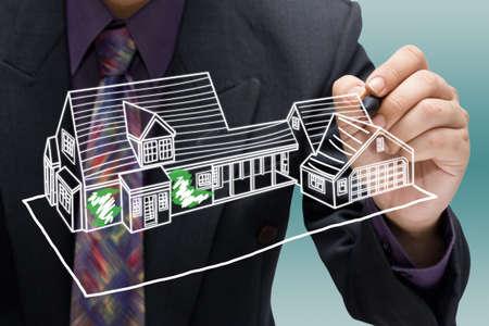 Imprenditore modello di casa abbozzare photo