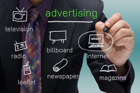 Businessman stress on internet icon of media channels Stock Photo - 17071470