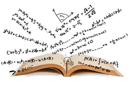 mathematics symbol: Opened book with mathematics equations Stock Photo