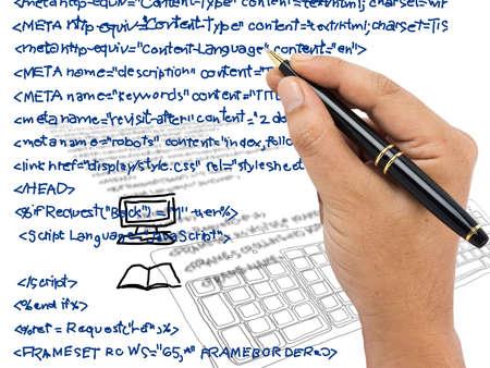 Hand writing computer source code Banco de Imagens