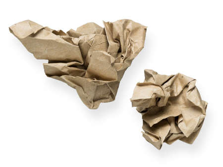 ball lump: Crumpled brown papers isolated on white background