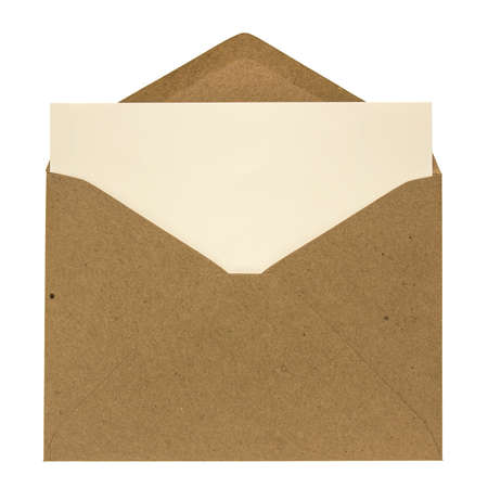 Opened brown envelope with card inside isolated on white background Stock Photo
