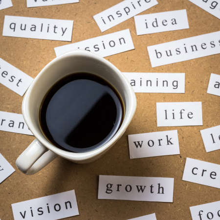 Black coffee with papers of business keyword on the desk Stock Photo - 18122004