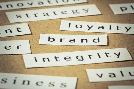Brand headline, closeup on paper of keyword cloud Stock Photo - 18122108