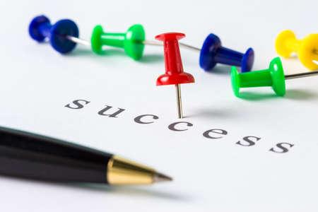 Push pin on paper at success word Stock Photo - 18122016